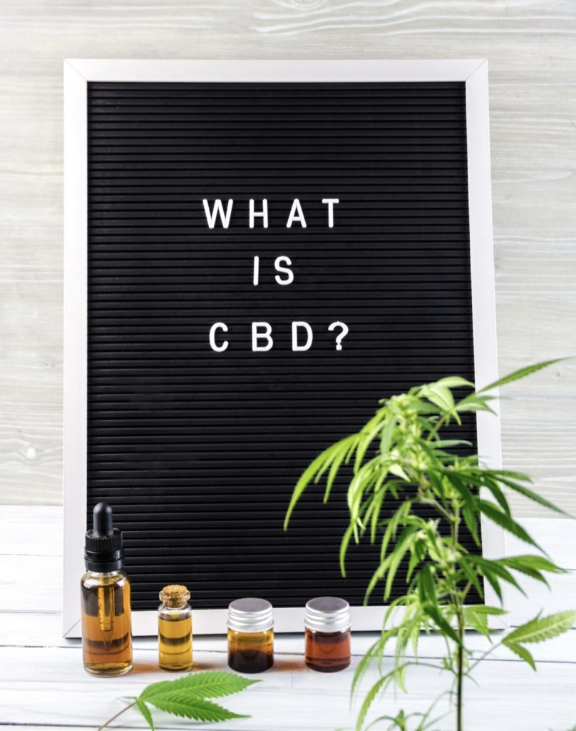 What is CBD spelled out onto letter board